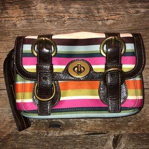 Coach Legacy Satin Stripe Wristlet Wallet Clutch